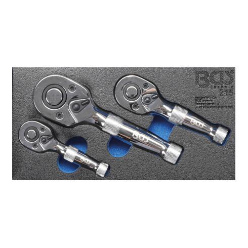 BGS Mini-Umschaltknarren-Satz 6,3 mm (1/4 Zoll) / 10 mm (3/8 Zoll) / 12,5 mm (1/2 Zoll) 3 teilig