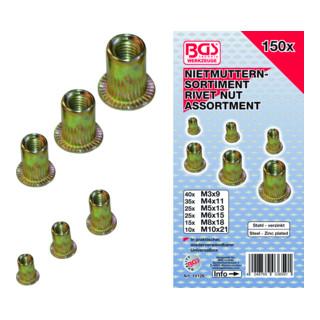BGS Nietmuttern-Sortiment verzinkter Stahl 150-tlg.