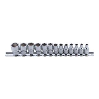 BGS Steckschlüssel-Einsatz-Satz, Sechskant Antrieb Innenvierkant 6,3 mm (1/4 Zoll) SW 4 - 14 mm 13 teilig