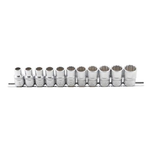 BGS Steckschlüssel-Einsatz-Satz, Zwölfkant Antrieb Innenvierkant 12,5 mm (1/2 Zoll) SW 10 - 21 mm 11 teilig