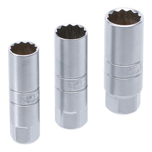 BGS Zündkerzen-Einsatz-Satz Zwölfkant Antrieb Innenvierkant 10 mm (3/8 Zoll) SW 14 - 16 - 18 mm 3 teilig