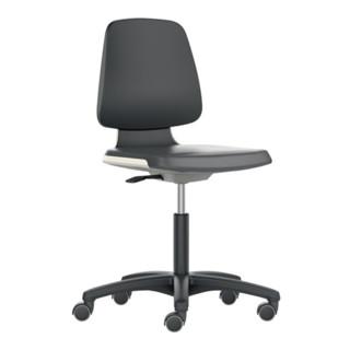 bimos Arbeitsdrehstuhl Labsit Rollen Sitzschale weiß Supertec-Gewebe schwarz 450-650mm