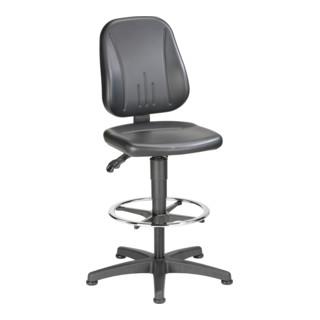 bimos Arbeitsdrehstuhl Unitec mit Gleiter und Fußring und Kunstleder schwarz Sitzhöhe 580-850 mm