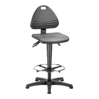 bimos Arbeitsstuhl Isitec mit Gleiter und Fußring und PU-Schaum schwarz Sitzhöhe 580-850 mm
