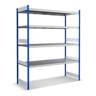 Bito Großfachregale mit Stahlböden Stützen Enzianblau