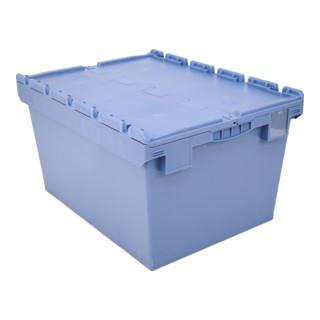 Bito Mehrwegbehälter Doppelboden Klappdeckel L 800 mm x B 600 mm x H 453 mm blau