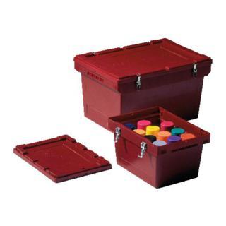 Bito Mehrwegbehälter für Gefahrenstoffe mit fest montierten Metallverschlüssen und Stülpdeckel