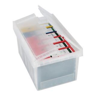 Bito Mehrwegbehälter MB transparent mit anscharniertem zweiteiligem Klappdeckel