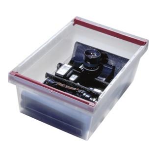 Bito Mehrwegbehälter MB transparent mit montierten, schwenkbaren Stapelbügeln