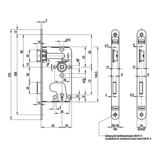 BKS ZT-Einsteckschloss DIN18251 0215 Kl.1 BB DIN li.Dorn 55mm Entf.72mm VK8mm