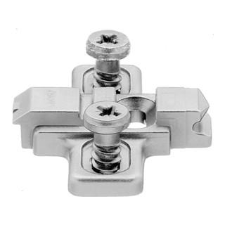 Blum Montageplatte CLIP kreuz 0 mm Zink vormontierte Systemschrauben HV Langloch Bohrtiefe 11,5 mm Handelsverpackung