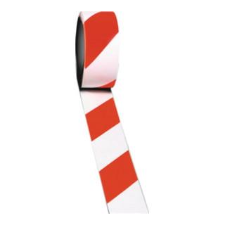 Bodenmarkierungsband Länge 33m, Breite 50mm rot-weiß gestreift, Rolle