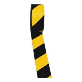 Bodenmarkierungsband Länge 33m, Breite 50mm schwarz-gelb gestreift,Rolle