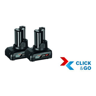 Bosch Akkupack GBA 12 Volt, 6,0 Ah, 2 Stück