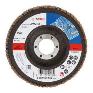 Bosch Fächerschleifscheibe X431, Standard for Metal, gewinkelt, 115 mm, 22,23 mm, 40