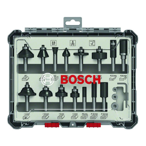 Bosch Fräser-Set 8-mm-Schaft 15-teilig