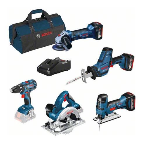 Bosch Kombi-Set: GSR 18V-28 + GST 18V-LI S + GWS 18-125V-LI + GKS 18 V-LI + GSA 18 V-LI C + 3 x 4.0Ah GBA + GAL 18V-40 + Werkzeugtasche