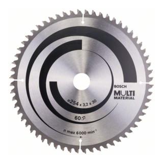 Bosch Kreissägeblatt Multi Material, 254 x 30 x 3,2 mm, 60