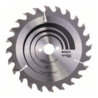 Bosch Kreissägeblatt Optiline Wood für Handkreissägen, 160 x 20/16 x 2,6 mm, 24