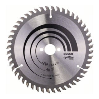 Bosch Kreissägeblatt Optiline Wood für Handkreissägen, 160 x 20/16 x 2,6 mm, 48