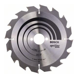 Bosch Kreissägeblatt Optiline Wood für Handkreissägen 190 x 30 x 2,0 mm 16