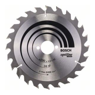 Bosch Kreissägeblatt Optiline Wood für Handkreissägen, 190 x 30 x 2,0 mm, 24