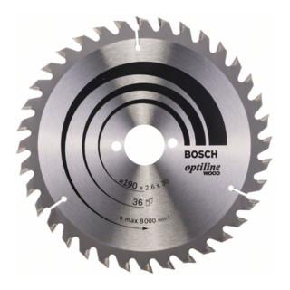 Bosch Kreissägeblatt Optiline Wood für Handkreissägen, 190 x 30 x 2,6 mm, 36