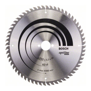 Kreissägeblatt Optiline Wood für Handkreissägen, 250 x 30 x 3,2 mm, 60