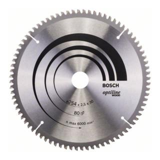 Bosch Kreissägeblatt Optiline Wood für Kapp- und Gehrungss. 254 x 30 x 2,5 80 WZ/N