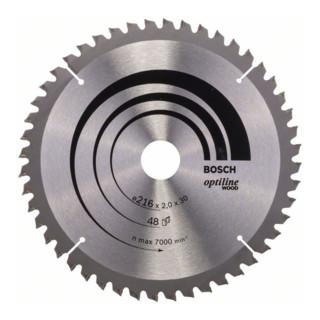Bosch Kreissägeblatt Optiline Wood für Kapp- und Gehrungssägen, 216 x 30 x 2,0 mm, 48