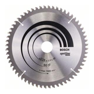 Bosch Kreissägeblatt Optiline Wood für Kapp- und Gehrungssägen, 216 x 30 x 2,0 mm, 60