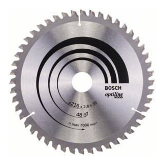 Bosch Kreissägeblatt Optiline Wood für Kapp- und Gehrungssägen, 216 x 30 x 2,8 mm, 48