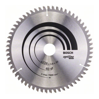 Bosch Kreissägeblatt Optiline Wood für Kapp- und Gehrungssägen, 216 x 30 x 2,8 mm, 60