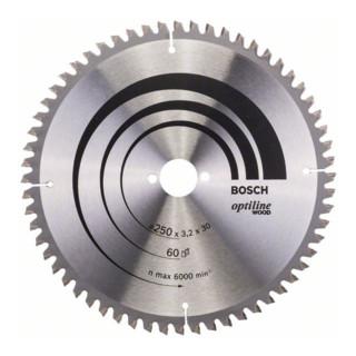 Bosch Kreissägeblatt Optiline Wood für Kapp- und Gehrungssägen 250 x 30 x 3,2 mm 60