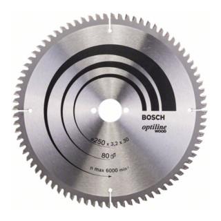 Kreissägeblatt Optiline Wood für Kapp- und Gehrungssägen, 250 x 30 x 3,2 mm, 80