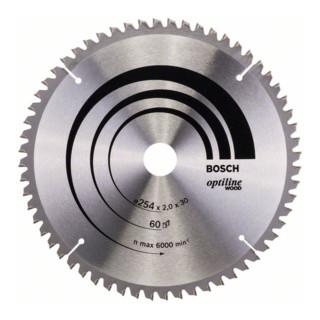 Bosch Kreissägeblatt Optiline Wood für Kapp- und Gehrungssägen 254 x 30 x 2,0 mm 60