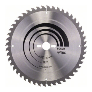 Bosch Kreissägeblatt Optiline Wood für Tischkreissägen, 300 x 30 x 3,2 mm, 48