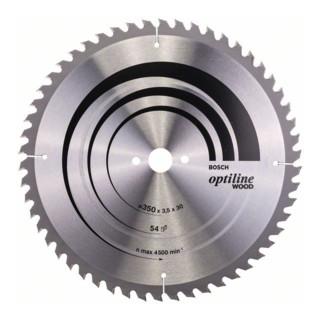 Bosch Kreissägeblatt Optiline Wood für Tischkreissägen 350 x 30 x 3,5 mm 54