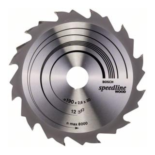 Bosch Kreissägeblatt Speedline Wood, 190 x 30 x 2,6 mm, 12