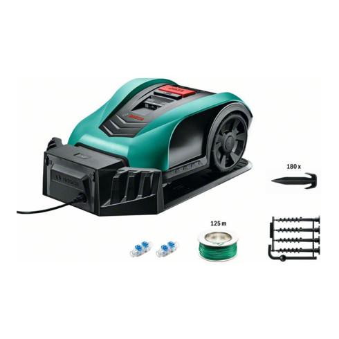 Bosch Roboter-Rasenmäher Indego 400, Ladestation, 2 Kabelverbinder, Begrenzung 125m