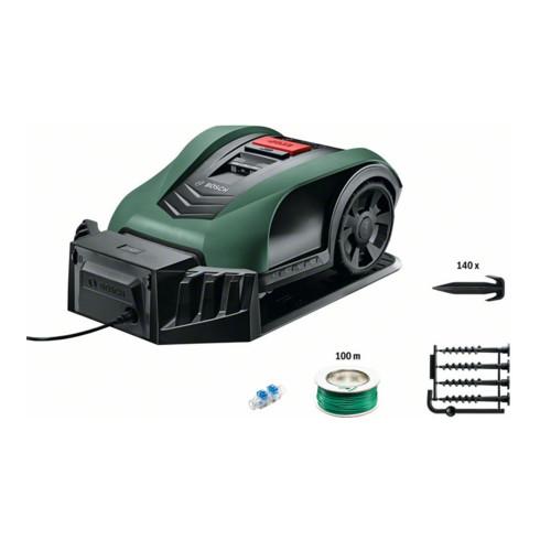 Bosch Roboter-Rasenmäher Indego S+ 400, Ladestation, 2 Kabelverbinder, Begrenzung 125m