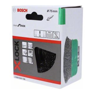 Bosch Topfbürste X-LOCK Clean for Inox 75 mm 0,3 mm gewellter rostfreier Stahldraht