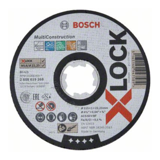 Bosch Trennscheibe X-LOCK gerade Multi Material ACS 60 V BF 115x22,23 x 1mm