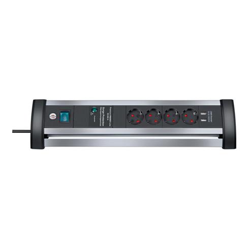 Brennenstuhl Alu-Office-Line Steckdosenleiste 4-fach mit Schalter und Überspannungsschutz
