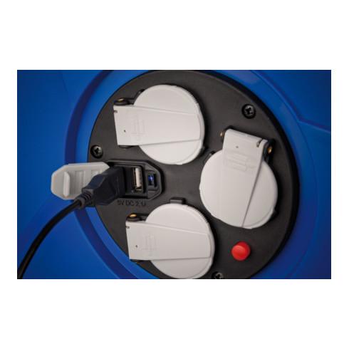 Brennenstuhl Garant Kabeltrommel 3-fach mit USB für den Innenbereich 50m Kabel blau