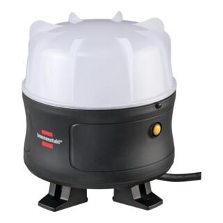 Brennenstuhl Mobiler 360° LED Baustrahler 30W, 3000 lm, 3m Kabel, spritzwassergeschützte Steckdose, IP54