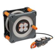 Brennenstuhl professionalLINE Baustellen-Kabeltrommel mit Powerblock, 50+5m, H07RN-F 3G1,5 Kabel in schwarz, Rundum-Überrollschutz, BGI 608