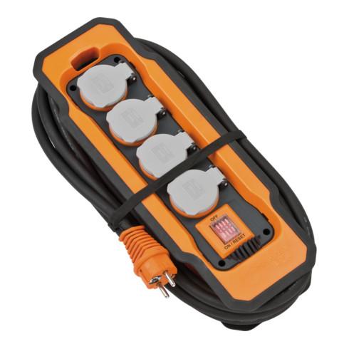 Brennenstuhl professionalLINE Steckdosenblock IP54 / Steckdosenverteiler 4-fach, mit praktischer Kabelaufnahme, 5m Kabel