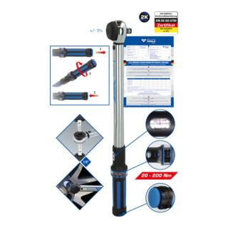 Brilliant Tools 1/2 Zoll Drehmomentschlüssel mit Drehknopf-Umsteck-Ratschenkopf, 20-200 Nm
