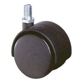 BS Kunststoffdoppelrolle D.40mm Trgf. 30kg m.Gewindestift M10 PA transp.